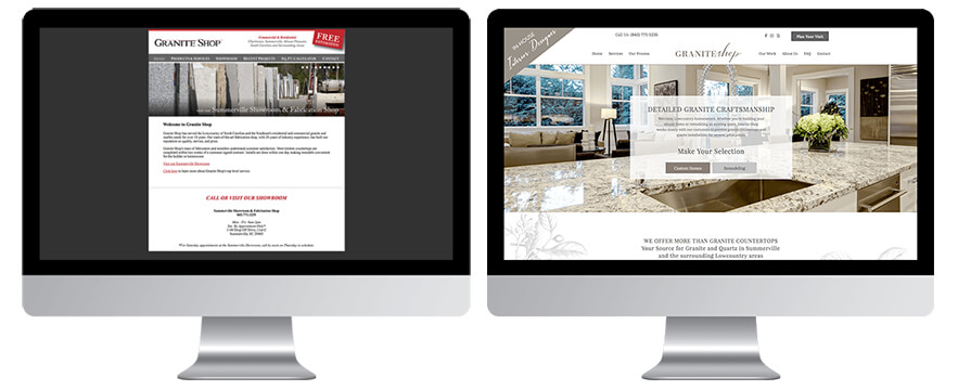 Before and after Granite Shop Website